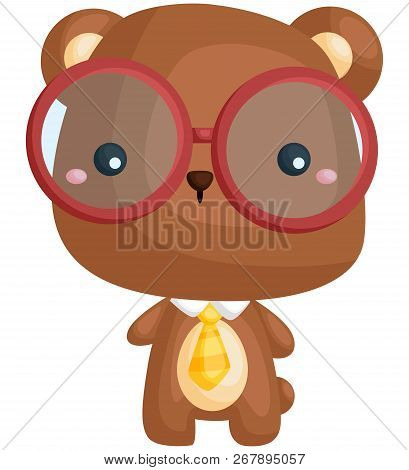 A Vector Of A Cute Bear Wearing Red Glasses
