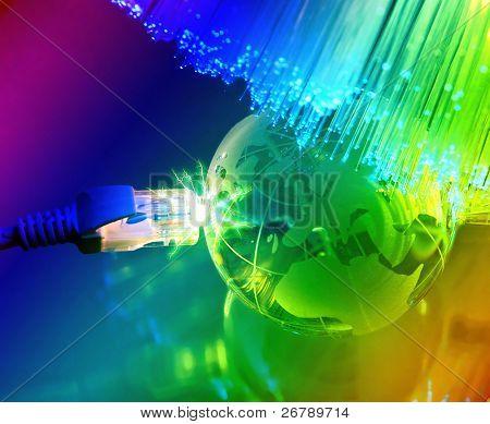 globe against fiber optic background