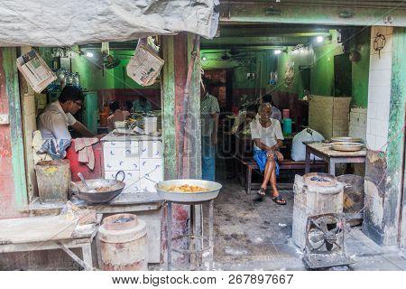 Kolkata, India - October 30, 2016: Small Cheap Eatery In The Center Of Kolkata, India