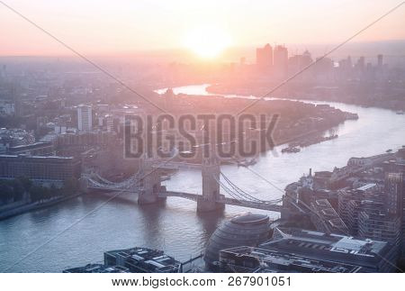 sunrise, London aerial view with Tower Bridge, UK