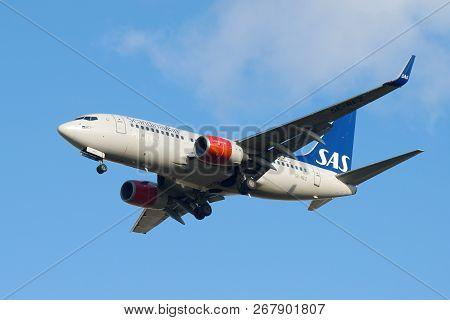 Saint Petersburg, Russia - October 25, 2018: The Boeing 737-700 (se-rez)  Of Sas Scandinavian Airlin
