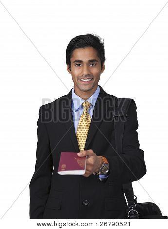 Smiling Traveler Shows Passport