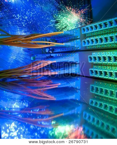 fiber optical network cable   and servers in a technology data center