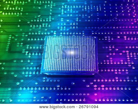 central microprocessors for a computer on a technology fiber optic background