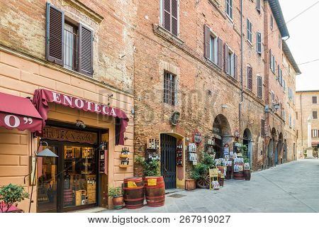 Montepulciano,italy - September 20,2018 - In The Streets Of Montepulciano. Montepulciano Is A Mediev