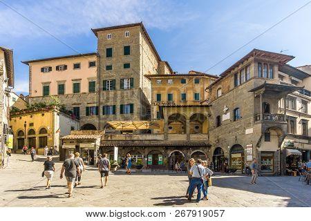 Cortona,italy - September 20,2018 - At The Place Of Republica In Cortona. Cortona Is A Town In The P