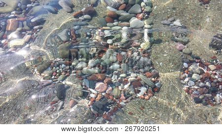 Blue Vintage Pebbles Background, Stones In Sea