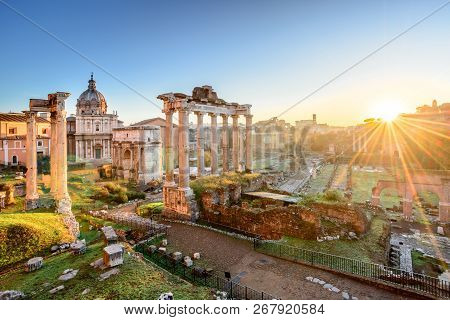 Forum In Rome, Italy. Roman Forum, Foro Romano, At Sunrise.rome Architecture And Landmark. Ancient F
