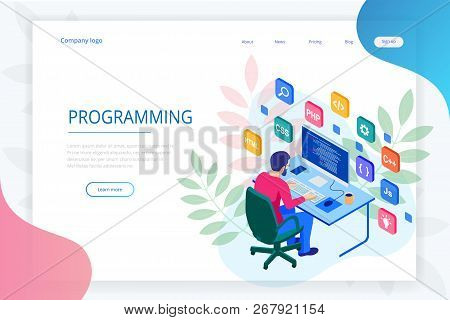 Isometric Programmer Coding New Project. Web Developer, Programming Concept. Landing Page Or Mobile
