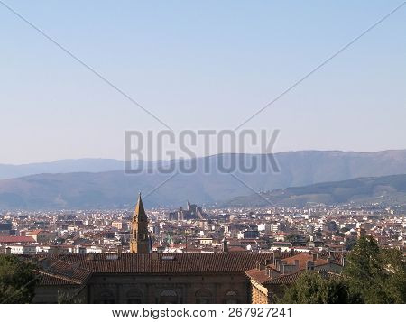 View Of Florence From The Boboli Gardens. Vacation In Tuscany, Italy. Travel And Architecture Concep