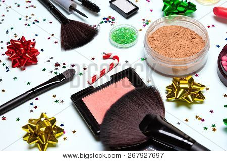 Christmas Party Glistening Makeup. Cosmetics And Accessories. Close Up, Selective Focus