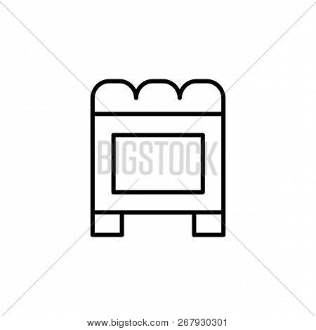 Black & White Vector Illustration Of Cube Leather Ottoman, Pouf. Line Icon Of Accent Stool Or Chair.