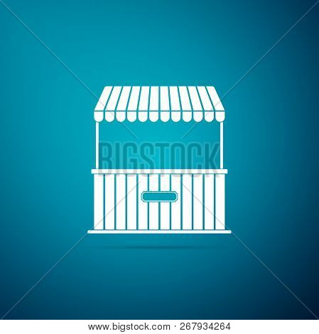 Street Stall With Awning And Wooden Rack Icon Isolated On Blue Background. Kiosk With Wooden Rack. F