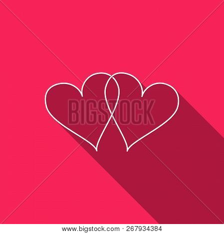 Two Linked Hearts Icon Isolated With Long Shadow. Heart Two Love Sign. Romantic Symbol Linked, Join,