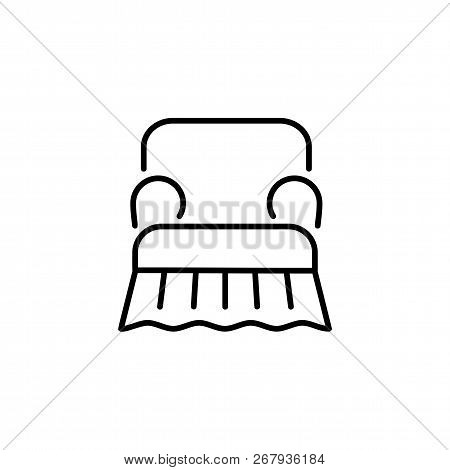 Black & White Vector Illustration Of Comfortable Armchair With Slipcover. Line Icon Of High Back Arm