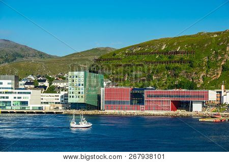 View To The City Hammerfest In Norway.