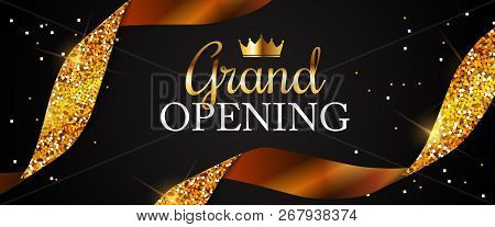 Grand Opening Card With Golden Ribbon Background. Vector Illustration
