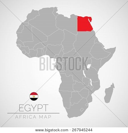 Map Of Africa With The Identication Of Egypt. Map Of Egypt. Political Map Of Africa In Gray Color. A