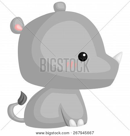A Vector Of A Cute And Adorable Rhino