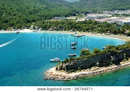 elevated view of boats and Mediterranean coast