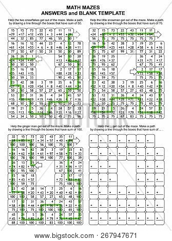 Solutions, Or Answers For Previous 3 Math Mazes, Plus Blank Template. Can Be Used Also As Templates