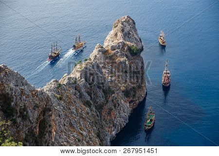 Pirate Ships And Rocks Ni The Sea. View From Alanya Castle In Antalya, Turkey