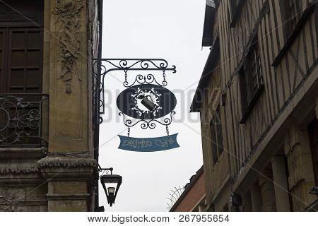 Rouen, France - August 30, 2018: Signboard