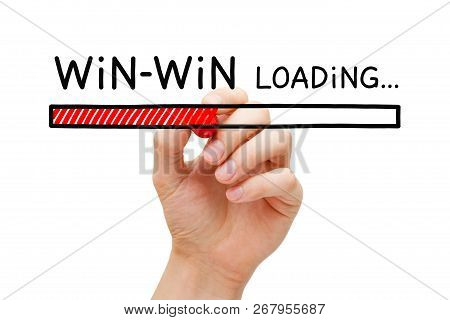 Hand Drawing Win Win Situation Loading Bar Concept With Marker On Transparent Glass Board Isolated O