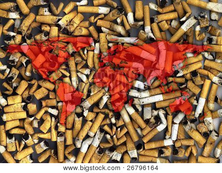 an image of world map on cigarette buts background