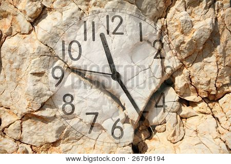 an image of a clock on rock background poster