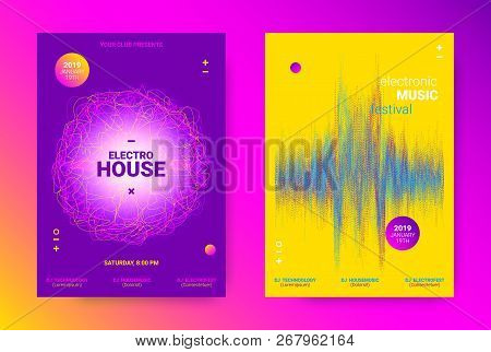 Music Event Promotion. Electronic Sound Poster Concept. Flyer For Techno Music Festival. Dance Event