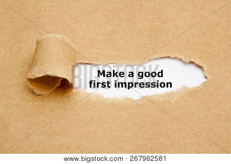 Motivational Advice Make A Good First Impression Appearing Behind Ripped Brown Paper.