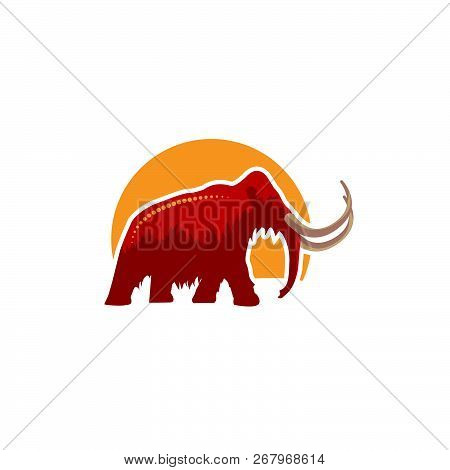 Mammoth Icon Red Orange And Brown In Illustrator Design Isolated On White Background. Dinosaurs And