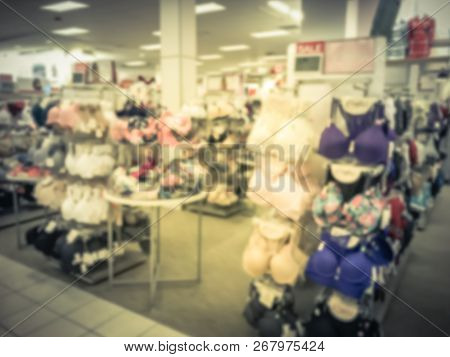 Filtered Tone Blurry Background Bra And Panties In Underwear Shop In Texas, America