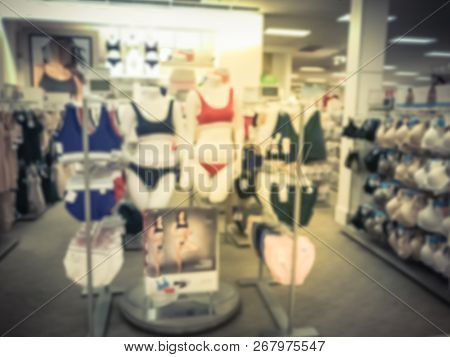 Blurry Background Female Mannequins With Bra And Panties In Underwear Shop In Texas, Usa