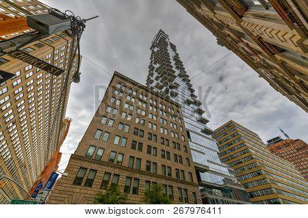 New York City - Oct 14, 2018: 56 Leonard Street Is The Tallest Building In The Tribeca Neighborhood