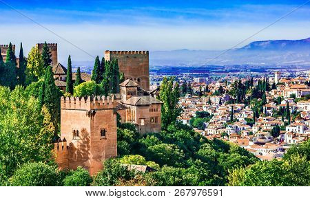 Granada, Andalusia, Spain, Europe Overview Of The Alhambra