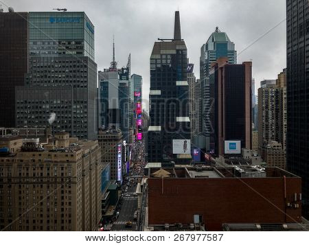 New York City - October 9, 2018: Aerial View Of Midtown Manhattan In New York City.