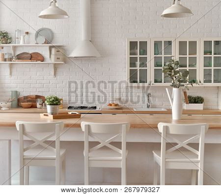 Kitchen Table With Kitchen Chairs. Kitchen Background.
