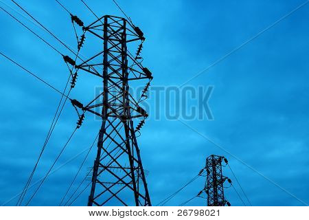 detail shot of a metal tower of Power Lines