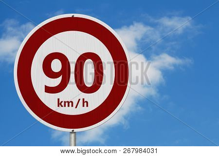 Red And White 90 Km Speed Limit European Style Sign With Sky Background 3d Illustration