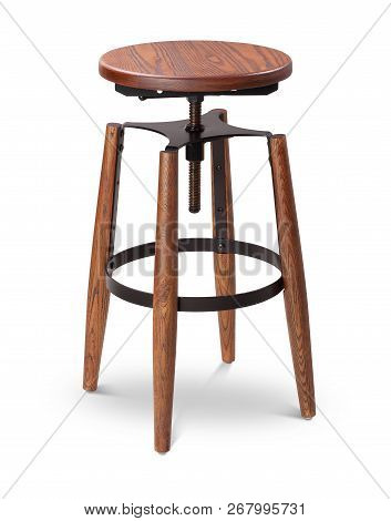Brawn Color High Spinning Bar Stool, Chair, Wood, Metal Chair, Modern Designer. Chair Isolated On Wh