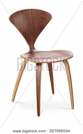 Brown Color Chair, Wooden, Classic Chair, Modern Designer. Chair Isolated On White Background. Serie