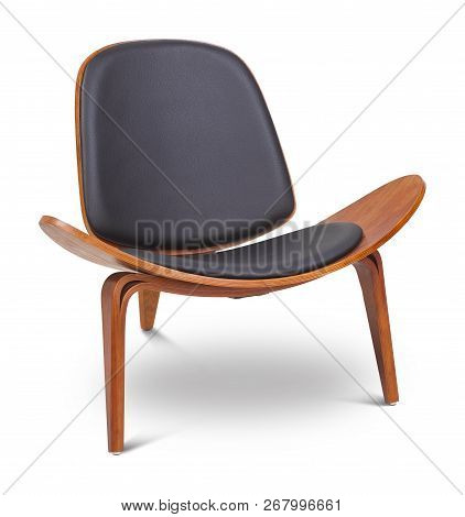 Black Color Armchair. Modern Designer Chair On White Background. Textile, Leather, Wooden Chair.