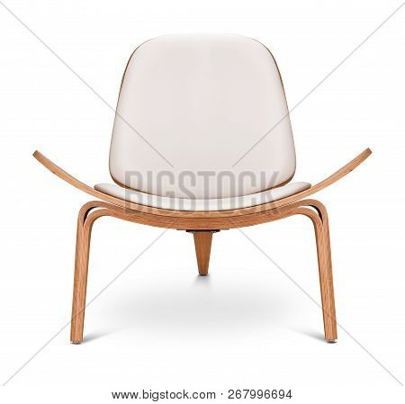 White Color Armchair. Modern Designer Chair On White Background. Textile, Leather, Wooden Chair.
