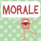 Handwriting text writing Morale. Concept meaning enthusiasm and discipline of person or group at particular time poster