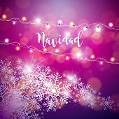 Vector Christmas Illustration with Spanish Feliz Navidad Typography on Violet Background. Holiday Light Garland and Snowflakes Design for Greeting Card, Party Invitation or Promo Banner. poster