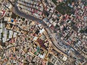 Aerial view on the tannery leather manufacturing in old Medina in Fes, Morocco (Fes El Bali Medina) poster