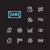 Finance trading icons set. Rally and finance trading icons with bid-ask spread, mutual funds and hedge funds. Set of savings for web app logo UI design. poster
