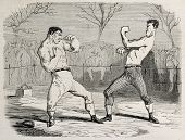 Antique humorous illustration of a boxing match beginning. Original, from drawing of Benassis and Darjou, published on L'Illustration, Journal Universel, Paris, 1860 poster